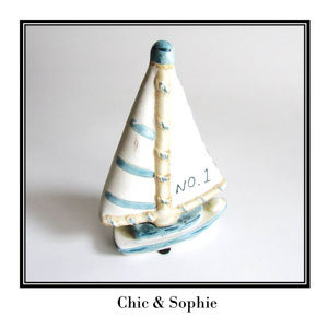 White and Blue Mini Sailboat Figurine Collectible